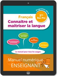 Connaitre et maitriser la langue 2de Bac Pro (2019) - Pochette - Manuel numérique enseignant