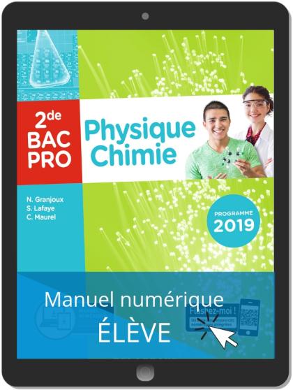 Physique - Chimie 2de Bac Pro (2019) - Pochette - Manuel numérique élève