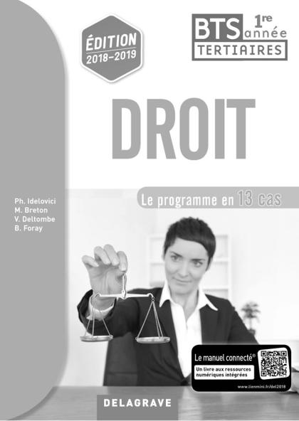 Droit 1re année BTS (2018) - Pochette - Livre du professeur