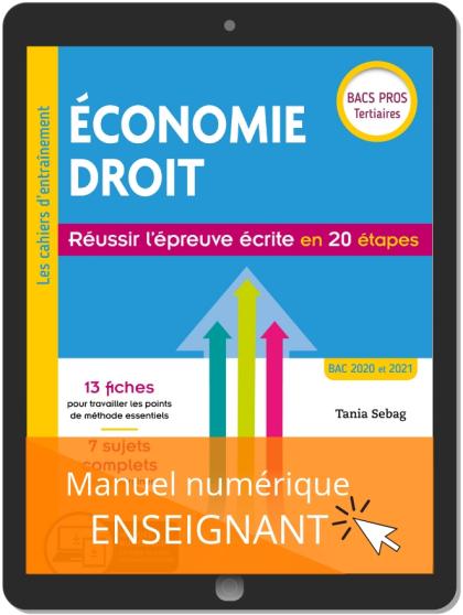 Économie-Droit - Réussir l'épreuve écrite en 20 étapes Bac Pro (2019) - Pochette - Manuel numérique enseignant
