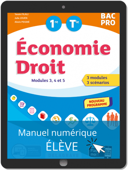 Économie-Droit 1re, Tle Bac Pro (2020) - Pochette - Manuel numérique élève