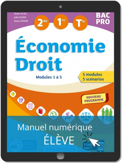 Économie-Droit 2de, 1re, Tle Bac Pro (2020) - Manuel numérique élève