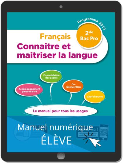 Connaitre et maitriser la langue 2de Bac Pro (2019) - Pochette - Manuel numérique élève