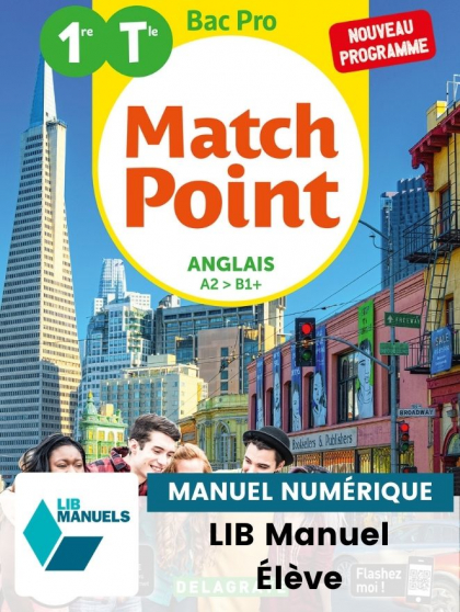 Match Point Anglais 1re, Tle Bac Pro (Ed. num. 2021) - Pochette - Manuel numérique élève