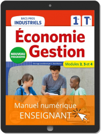 Économie-Gestion 1re, Tle Bacs Pros Industriels (2020) - Pochette - Manuel numérique enseignant